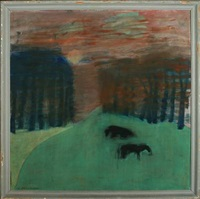 sunset, landscape with horses by aage fredslund-andersen