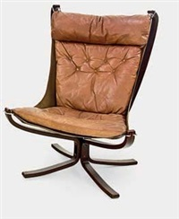 vintage high-back falcon chair by sigurd ressell