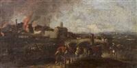 le salmerie di uno squadrone di cavalleria escono da un villaggio in fiamme (+ squadrone di cavalleria in attesa dell'attacco; pair) by pandolfo reschi