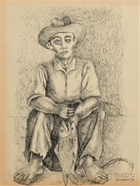 seated fisherman with his catch by mario carreño