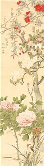 magnolienblüten- und kirschblütenzweig, päonien mit aufsitzendem spatz und orchideen by tanaka tessai