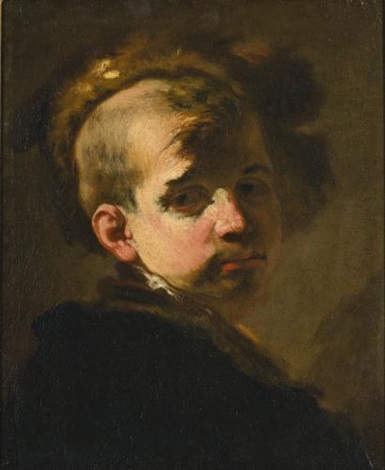 portrait of a boy in a fur hat by luca giordano