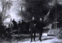 könig ludwig ii. landet mit seinem schiff 'tristan' vor schloß berg by erich correns