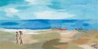 strandszene auf bali mit frauen und fischerbooten by adrianus wilhelmus smit
