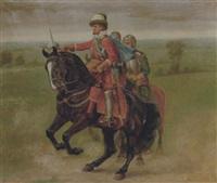 historisk sceneri med fornem rytter (christian iv?) by johannes resen-steenstrup