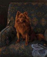 sittende hund i lenestol by karl kristian uchermann
