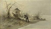 alter bauer am winterlichen seeufer by karl raupp