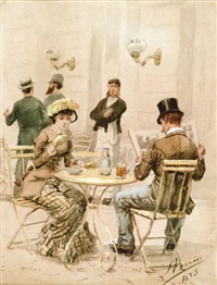 élégants au café by léon joseph voirin