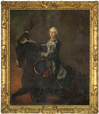 portrait of charles edward stuart - bonnie prince charlie in military uniform, mounted on a horse by continental school (18)