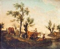 campesinas con ganado en un paisaje by frans swagers