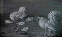 hahn, huhner und kuken am wassernapf vor einer mauer by johann friedrich grooth