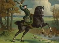 falknerin zu pferd by angelo comte de courten