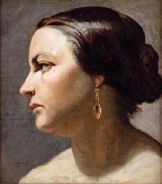 retrato de dama de perfil by joaquín agrasot y juan