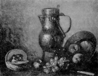 nature morte - fruits et objets sur une table by narcisse poirier
