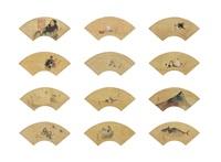 album of fan paintings (12 works) by katsushika hokusai