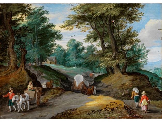baumlandschaft mit pferdekarren und zum markt ziehenden bauern by jan brueghel the younger