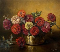 still life of chrysanthemums in a copper pot by jacques vollon
