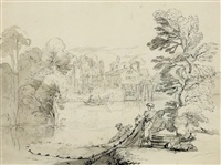 landscape with fishermen taking in their catch by pierre lelu