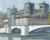 le pont bonaparte et la cathédrale saint-jean à lyon by jean couty