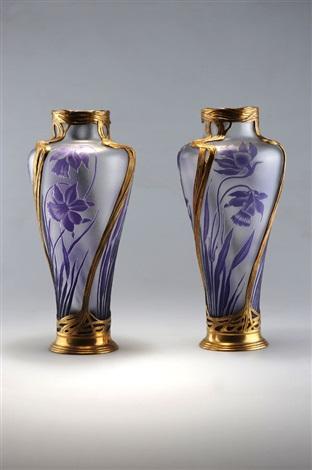 paar vasen mit glaseinsatz by val saint lambert on artnet. Black Bedroom Furniture Sets. Home Design Ideas