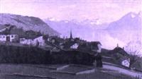 ausblick über den genfersee bei lausanne by alfred duplain