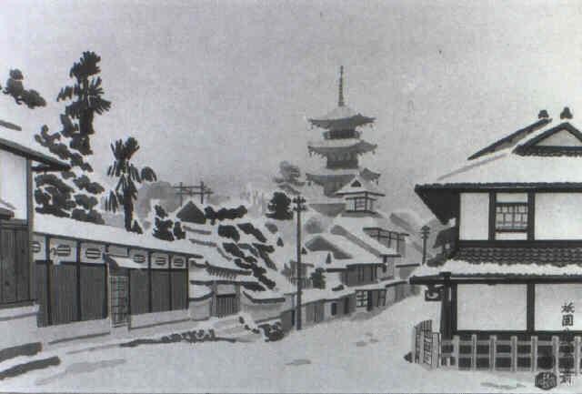 vor dem yasaka schrein des gion viertels by eiichi kotozuka