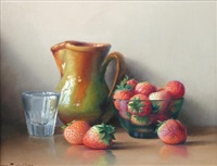 still life with strawberries by robert chailloux