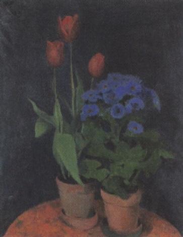 stilleben mit zwei blühenden topfpflanzen by jeanne marguerite frey surbek