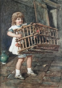 young girl carrying a basket of chickens by ernesto levorati
