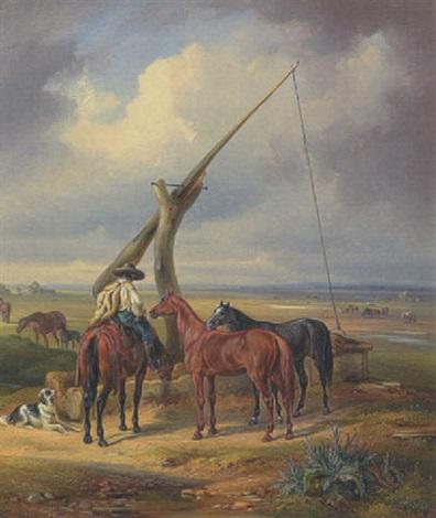 reiter mit pferden am ziehbrunnen by eugen adam