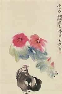 花鸟 立轴 设色纸本 by feng jinsong