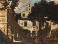 capriccio mit einem triumphbogen und einem haus by viviano codazzi and domenico gargiulo