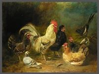 hühnerhof mit taube und elster (collab. w/ franz von lenbach) by johann baptist hofner