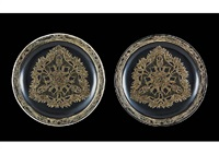 plate : chasse chiens (set of 2) by rené lalique