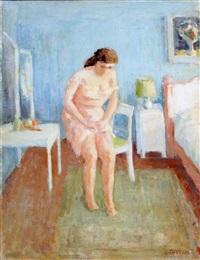 jonge vrouw in slaapkamer by louis thevenet