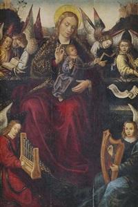 thronende muttergottes mit rosenkranz und dem christusknaben auf dem schoß, umgeben von musizierenden engeln by anonymous-german (15)