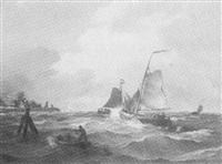 mehrere segelboote auf bewegter see vor holländischer küste by albert halle