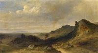 weite hügelige küstenlandschaft mit hünengrab (vermutlich skandinavien) by georg hesse