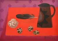 still life with quail eggs and jug by mary fedden