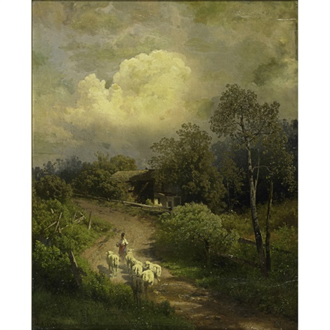 a landscape with shepherd and flock by hermann herzog