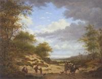 holländische dünenlandschaft mit pferdekarren und spielenden kindern by gerrit hendrik gobell