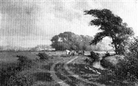 cattle being driven along a riverside path by j. c. morley