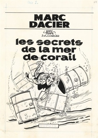 marc dacier for album les secrets de la mer de corail color sheet gouache verso by eddy paape