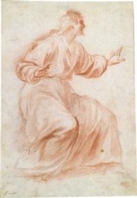 ein heiliger (dbl-sided study) by francesco (cecco bravo) montelatici