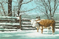 two cows by a fence in the snow by richard gardner