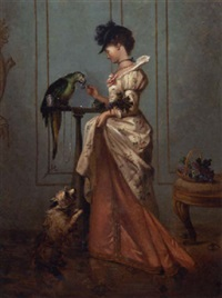 a lady with a parrot by ernest gustave girardot