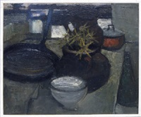 kitchen still life with bowl, pans and knife by john bainbridge copnall