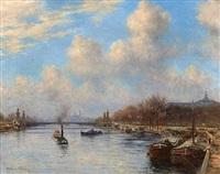 vue de la seine avec le pont alexandre iii, paris by alexis vollon