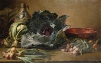 nature morte avec chou-fleur, chou rouge, oignons et ail by henri privat-livemont