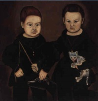 two young boys wearing black jackets with a dog, cat and whip by aaron dean fletcher
